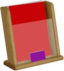 Countertop Literature Display w/Business Card Pocket, Medium Oak