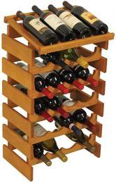 24 Bottle Dakota Wine Rack with Display Top, Medium Oak