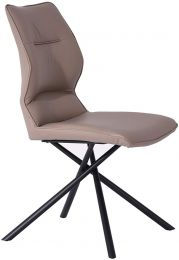 Marlon Dining Chair, Taupe faux leather, matte Black powder coated metal legs..