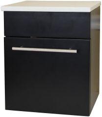 Solid wood wall mount side cabinet-black-white phoenix stone
