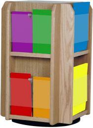 Divulge Spinning Counter Display with 8 Magazine/16 Brochure Pockets w/Brochure Inserts, Medium Oak