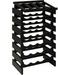 28 Bottle Dakota Wine Rack with Display Top, Black