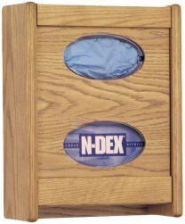 2 Pocket Glove/Tissue Box Holder, Light Oak