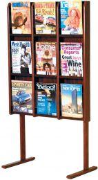 Divulge 9 Magazine Floor Display, Mahogany