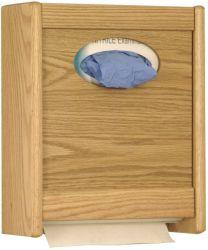 Combo Towel Dispenser & Glove/Tissue Holder, Medium Oak