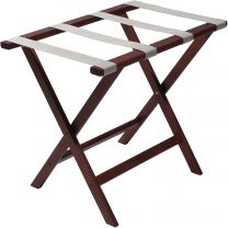 Deluxe Straight Leg Luggage Rack, Silver Straps, Mahogany