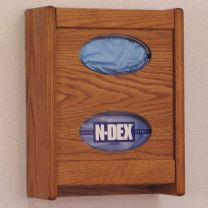 2 Pocket Glove/Tissue Box Holder, Medium Oak