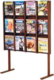 Divulge 12 Magazine Floor Display, Mahogany