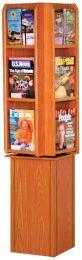 Divulge Spinning Floor Display with 12 Magazine/24 Brochure Pockets w/Brochure Inserts, Medium Oak
