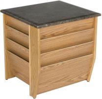 Dakota Wave End Table with Magazine Pockets, Black Granite-look Top, Light Oak