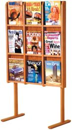 Divulge 9 Magazine Floor Display, Medium Oak