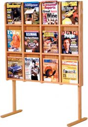 Divulge 12 Magazine Floor Display, Light Oak