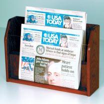 Countertop 2 Pocket Newspaper Display, Mahogany