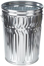 "Galvanized Steel 32-Gallon Light Duty Trash Can, Round, 21-1/4"" Diameter x 26-1/4"" Height"