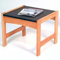 Dakota Wave End Table,  Black Granite-look Top, Light Oak
