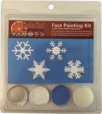 Face Paint, 2ML X 3 Colors - Snowflake Stencil Set
