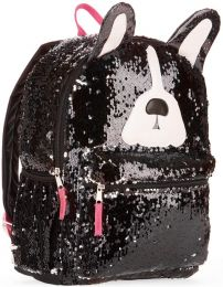 Sequin Dog Shaped Full Size Deluxe School Bag Zipper Compartments 16 inches