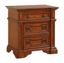Furniture Highland Ridge Traditional 3-Drawer Nightstand with Double USB Charger