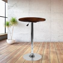 23.5 Inch  Round Adjustable Height Rustic Pine Wood Table (Adjustable Range 26.25 Inch  - 35.5 Inch )