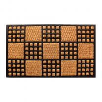 """CuboidFloor mat Indoor Outdoor Rubber/Coir 23""""x 16"""""""