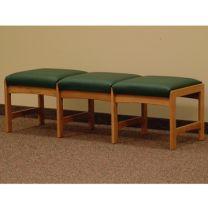 Dakota Wave™ Three Seat Bench, Green Vinyl, Medium Oak