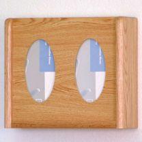 2 Pocket Glove/Tissue Box Holder, Oval, Light Oak