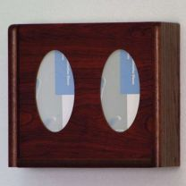 2 Pocket Glove/Tissue Box Holder, Oval, Mahogany