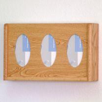 3 Pocket Glove/Tissue Box Holder, Oval, Light Oak