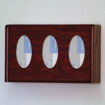 3 Pocket Glove/Tissue Box Holder, Oval, Mahogany
