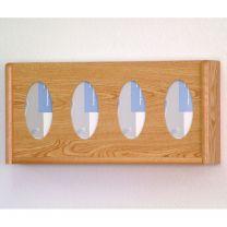 4 Pocket Glove/Tissue Box Holder, Oval, Light Oak