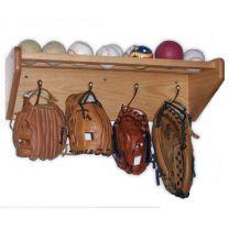 5 Hook Shelf, Brass Hooks, Medium Oak