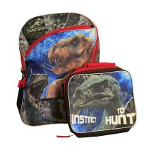 """Jurassic World Backpack with Lunch Tote 16"""" School Bag Set"""