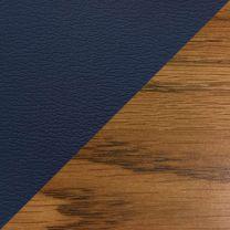 Dakota Wave Single Bench, Blue Vinyl, Medium Oak