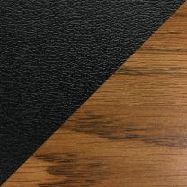 Dakota Wave™ Three Seat Bench, Black Vinyl, Medium Oak