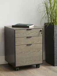 Unique Furniture Oslo 3Drawer Mobile Pedestal in Gray Ash Wood and Black