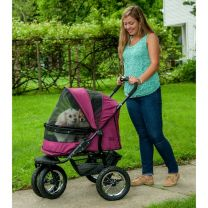 No-Zip Double Pet Stroller - Boysenberry