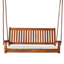 Teak Swing and Cushions-White