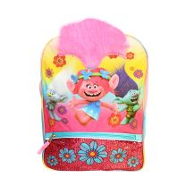 Poppy Trolls Backpack Faux Hair Deluxe School Bag or Travel Backpack
