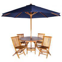 6-Piece Round Folding Table Set and Umbrella