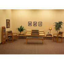 Valley Collection Bariatric Guest Chair, Standard Leg, Wine Vinyl, Medium Oak
